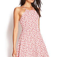 FOREVER 21 Dainty Rose Skater Dress Pink/Cream Large
