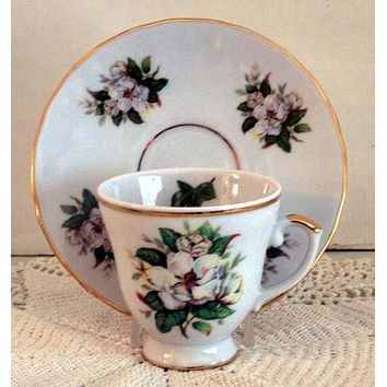 Set of 2 Demitasse Tea Cup and Saucer Magnolia
