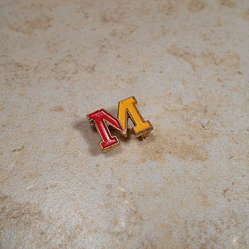 Small Red Yellow Letter Initial M Vintage Brooch Lapel Pin Enameled Gold Tone