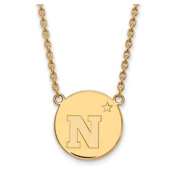NCAA 14k Gold Plated Silver Navy Large 'N' Disc Necklace
