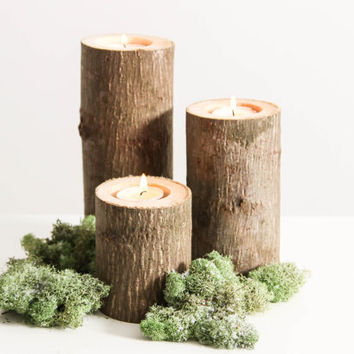 Tree Branch Candle Holders Set of 3 Heights- Rustic Wood Candle Holders, Tree Slice, Wooden Candle Holders