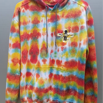 Galactic Rainbow Tie Dye Hoodie, Adult Size Medium, Unisex Clothing, Color, Women's, Men's, Girl's, Boy's, Snowboard, Skateboard, Surf, Warm
