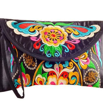 new national ethnic embroidery embroidered Coin purse women's handmade small cloth wallet phone bag