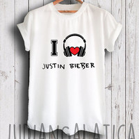 i love music justin bieber shirt justin bieber merch tshirt gray and white color unisex size