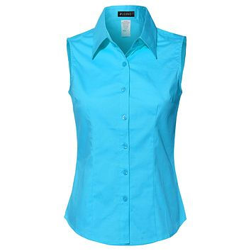 Lightweight Cotton Sleeveless Button Down Shirt