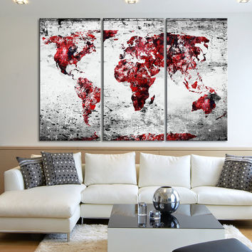 Canvas Print 3 Panel WORLD MAP - 3 Piece Atlas Canvas Art Print - Black and Red Vintage World Map - MC115