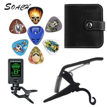 SOACH 2018 NEW Super Value Tool Kit Guitar Tuner + Capo + Plectrum Holder + PU Bag + 6 Colors Picks Guitarra Parts Accessories