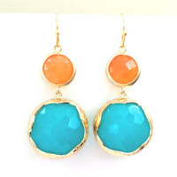 Orange, Aqua, Bright, Earrings, Circle, Dangle, Earrings, Drop, Aqua Earrings, Orange, Peacock, Color, Earrings, Jewelry, Modern, Earrings