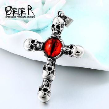 BEIER Vintage Cross Skull with Claw Evil Red Eye Necklace Pendant For Men 316 Stainless Steel Unique jewelry Punk Style BP8-341