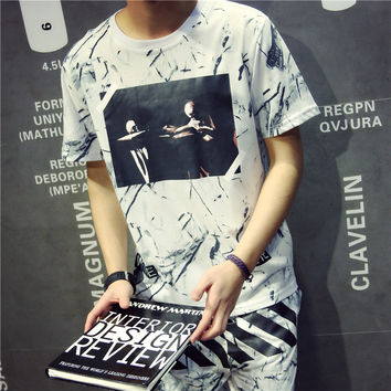 Stylish Summer Short Sleeve Fashion Korean Shirt Couple T-shirts [6541178307]