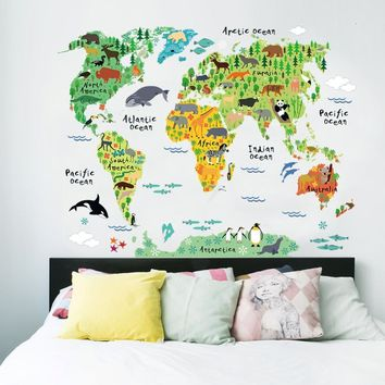 Decal Colorful Animal World Map Wall Stickers