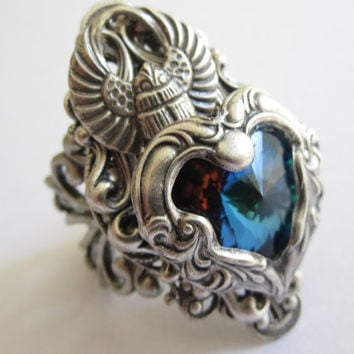 Fire and Ice - Swarvoski Ring - Filigree Ring - Fantasy Ring - Egyptian Ring - Art Nouveau Jewelry - Swarovski Jewelry - Game of Thrones