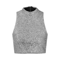 **Metallic Silver Tinsel High Neck Crop Top by Jaded London