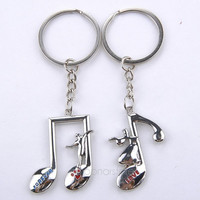 2pcs/set Music Note-Shaped Pendant Lovers Couples Metal Keyrings Key Ring Key Chain Keyfob Gifts = 1929905988