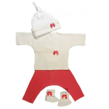 Baby Girls' Dark Pink with Polka Dot Trim Clothing Set