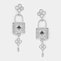 Crystal Cubic Zirconia Cz Key Lock Earrings
