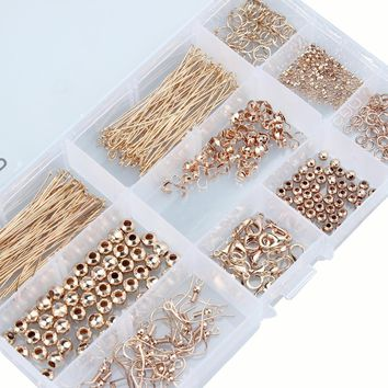1Set Gold Antique Bronze Color Bead Caps Jump Rings Head Pins Ear Wires Lobster Claps Jewelry Making Findings Kit Accessories