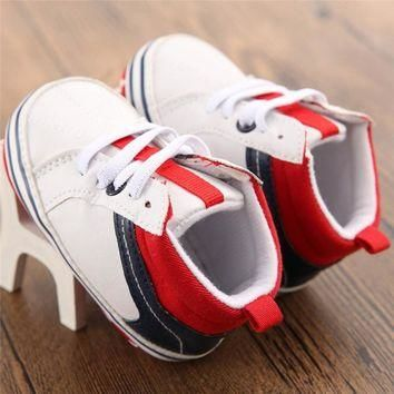 Cute Baby Boys Splicing Canvas Shoes Sneakers Anti-slip Soft Sole Toddler First Walker