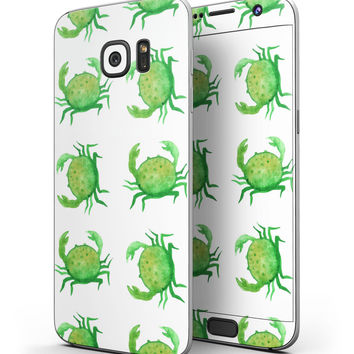 Seamless Green Crab WaterColor - Full Body Skin-Kit for the Samsung Galaxy S7 or S7 Edge