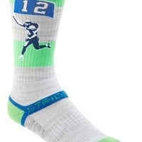 Men's STRIDELINE 'Seattle Flag Runner' Socks - White