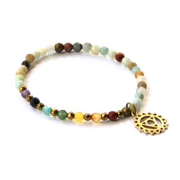 Throat Chakra Delicate Bracelet, with Chakra Gemstones and Amazonite