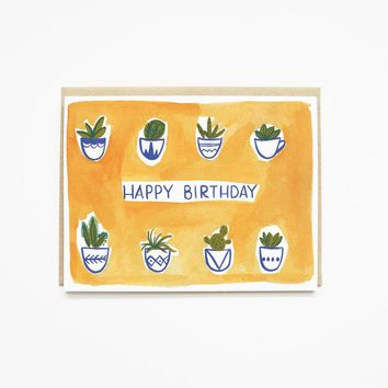 Pen + Pillar - Watercolor Succulent Birthday Card