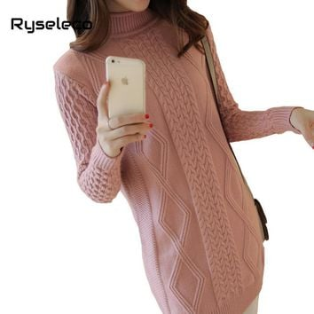 Women's Turtleneck Long Sleeves Ribbed Twist Grid Knitted Long Tunic Sweaters Female Autumn Winter Basic Casual Pullovers Tops