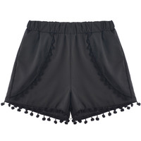 Elastic Waist Shorts with Pom Deco