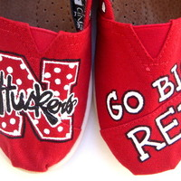 The Huskers - Nebraska Cornhusker inspired TOMS shoes hand painted by Fruitful Feet