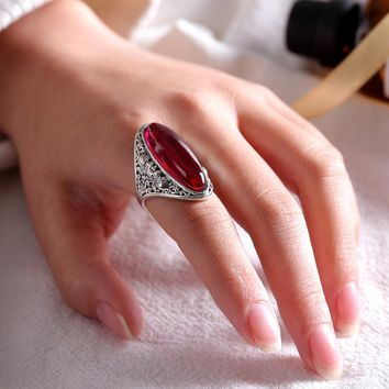 EDI Brand Gemstone Red Garnet Rings For women Vintage Retro 925 Silver Ring opal Thai silver Wedding Rings Jewelry