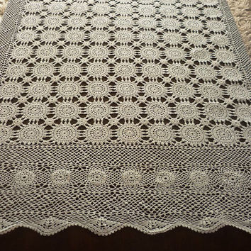 Vintage hand crocheted tablecloth, Rectangle white crocheted table doily ,Handmade Rectangle doily ,Shabby chic