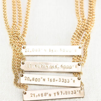 Hoaka necklace- coordinate necklace, latitude longitude necklace, bar necklace, wanderlust necklace, gold necklace, custom necklace, hawaii