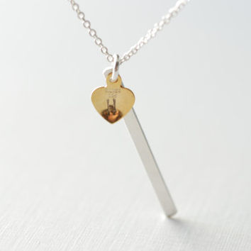 Bar Necklace, Gold Bar Necklace, Personalized Necklace, Initial Bar Necklace, Tiny Heart Initial Necklace, Personalized Bar Necklace