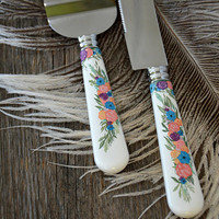 Hand painted wedding cake knives Flowers
