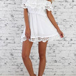 White Frill Off Shoulder Lace Trimmed Mini Dress