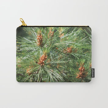 Budding Pine Cones Carry-All Pouch by Theresa Campbell D'August Art