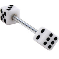White DICE Barbell Tongue Ring | Body Candy Body Jewelry