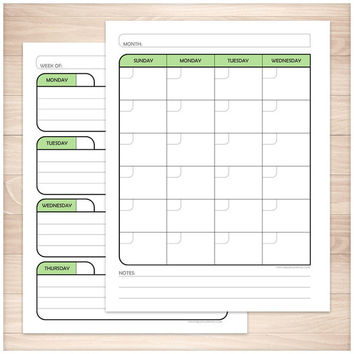 Green Monthly Weekly Calendar Planner Pages - Printable