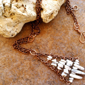 Handmade Copper Wire Wrapped White Stone Pendant, White Howlite Necklace, Rustic Natural Stone Chips Points Pendant, Metaphysical Jewelry