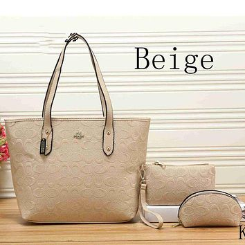 DCCKJ1A Coach women tide card three-piece leather handbag shoulder bag F-KSPJ-BBDL Beige