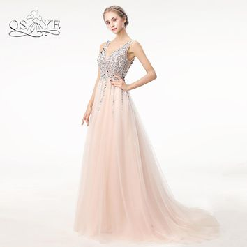 QSYYE Sexy Long Prom Dresses 2018 Deep V Neck Backless Beads Crystal Party Gown Sleeveless Sweep Train Cheap Tulle Evening Dress