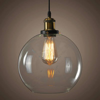 Industrial Retro Vintage Ceiling Light Pendant Loft Chandelier Fixture Crystal Glass Lamp Shade