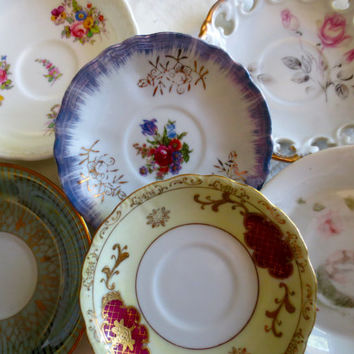 Set of 6 Mismatched Small China Saucers - Bridal Shower, Tea Party, Wall Decor.  Plate Set, Antique Plates