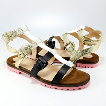Christian Louboutin 41 Rocknbuckle Pink Brown White Gladiator Sandals Flats A253