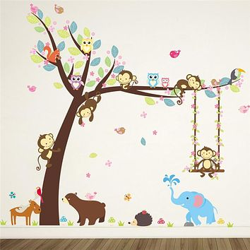 Forest Animals Elephant Lion Monkey Bear Tree wall stickers for kids room Children Wall Decal Nursery Bedroom Decor Poster Mural