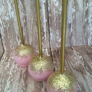 12 Pink and Gold Shimmer Cake Pops Wedding Favors Birthday Baby Bridal Shower Party Sweets Table Candy Buffet
