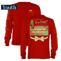 Simply Southern Preppy Collection Christmas Elf T-Shirt for Girls LS-YTH-PRPELF-RED