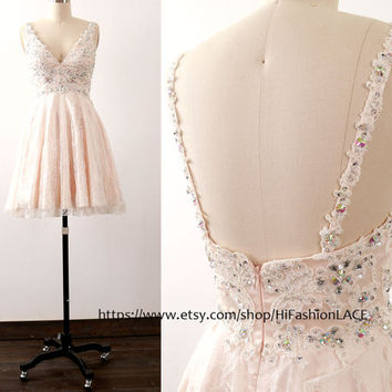 Lace Homecoming Dress, Mini Prom Dresses, Pearl Pink Straps V Neck Lace Cocktail Dress, Short Lace Formal Gown, Wedding Party Dress