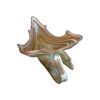 Pre-owned Mid-Century Blown Glass Swan Bowl