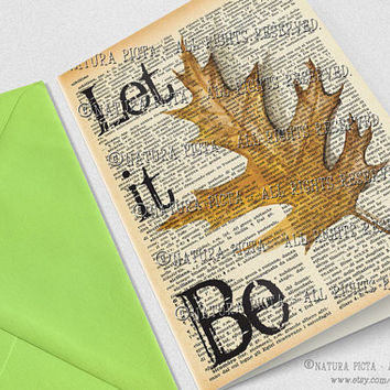 Let it be maple leaf Greeting Card -4x6 inches -Invitation card -Stationery Card -Thank you card - Design by NATURA PICTA NPGC061